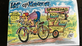 A cartoon drawn by Hands of a Ride for Ryder cyclist