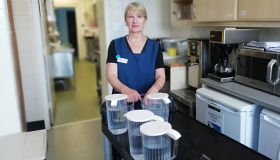 Patient support volunteer Susan Clark in the kitchen at Wheatfields