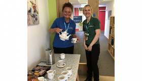 Thorpe Hall Hospice's Wellbeing Cafe organisers Margretta and Vicky.