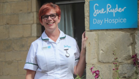 Occupational Therapist Heather Bayliss outside Sue Ryder Leckhampton Court Day Hospice