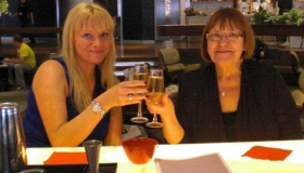 Kirsty with her mum Kathleen making a toast
