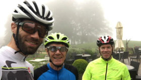 Jonathon, Richard and Simon Cox in their cycle helmets