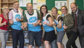 The Chosen Hill staff taking on the Still Moving Cheltenham Half Marathon for Sue Ryder Leckhampton Court Hospice in September 2019 strike a running pose