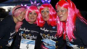 Jude Wilcox, second right, and the 'Hike for Mike' team at Starlight Hike 2018 sporting pink wigs