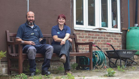 James and Natalie who work on our maintenance team at Sue Ryder Leckhampton Court Hospice