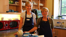 Image of Marilyn and Liz volunteering at Sue Ryder Thorpe Hall Hospice Coffee Shop