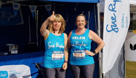 Helen and her running partner at Bedfordshire Running Festival