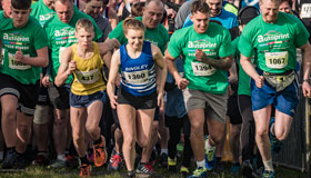 Runners at the staring line in the Keighley 10K race