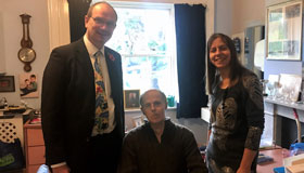 MP Sandy Martin, resident and carer at The Chantry