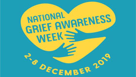 National Grief Awareness Week Logo - A Heart with Two Hands
