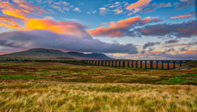 Yorkshire Dales and Ribblehead Viaduct Under a Sunset