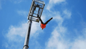 A person freefalling through the air for Adrenaline Drop!