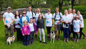 Walkers for the Wharfedale Pub Walk with their dogs