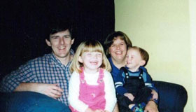 Jess Bacon as a child with her family