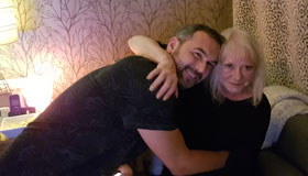 Lee Jackson and his mum Jean hugging