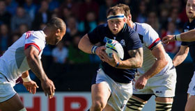 Former Scottish rugby union star Ryan Grant, in action on the field