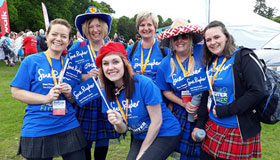 Walkers in their kilts and tartan for the Dee View Court Kiltwalk Aberdeen.