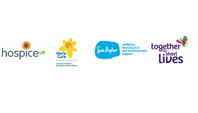 Image of Hospice Uk, Marie Curie, Sue Ryder and Together for Short Lives logos