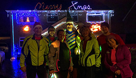 The Airedale Dodgers running club together for the Winter Solstice Saunter.