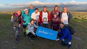 A team of walkers with a blue Sue Ryder Wheatfields banner