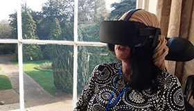 A client using the virtual reality therapy headset at The Chantry.