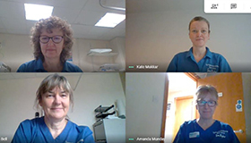 The Lymphoedema Team at Sue Ryder Duchess of Kent Hospice on a video call