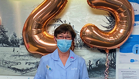 Sue Ryder Nursing Assistant Carole celebrating 25 years of service